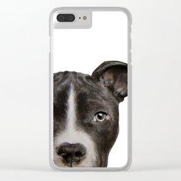 Pitbull Dark brown Dog illustration original painting print Clear iPhone Case