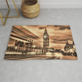 The Big Ben in retro style in London Rug