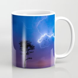 Gorgeous Lightning Flashing with a Solo Tree Coffee Mug