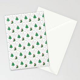 Christmas Tree And Stockings Pattern On White Stationery Cards