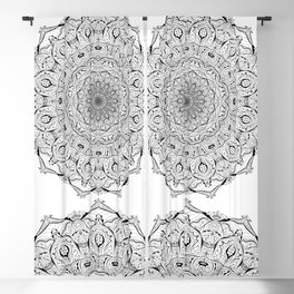 Lacy Flames Mandala in Black and White Blackout Curtain