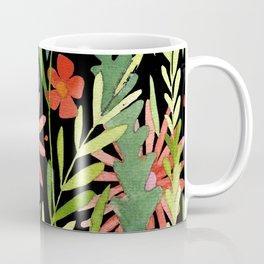 Flower Burst Orange and Black, floral pattern design Coffee Mug