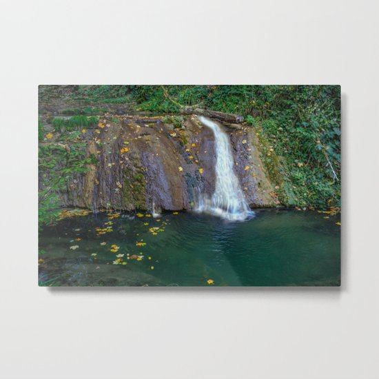Autumn leaves in the waterfall Metal Print