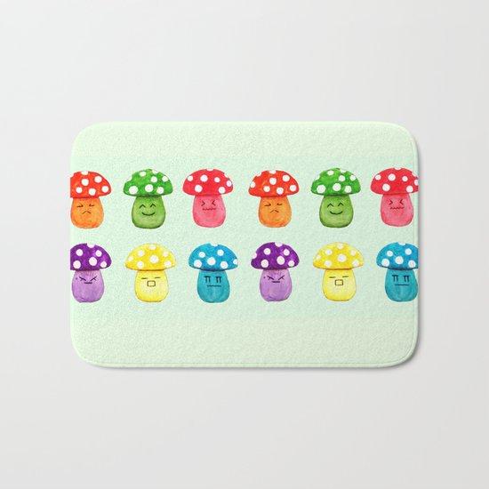 cute mushroom emoji watercolor painting  Bath Mat