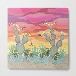 rufous hummingbirds & cactus Metal Print