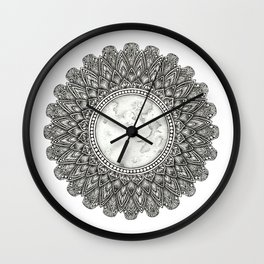 Black and White Moon Mandala Wall Clock