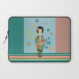 Kokeshi Geisha Japan Green Laptop Sleeve