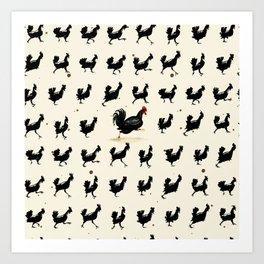 Chickens running Art Print