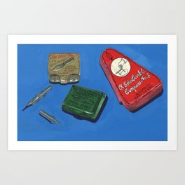 Ink Dip Pen Nib Containers in Gouache Art Print