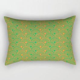 op art pattern retro circles in green and orange Rectangular Pillow
