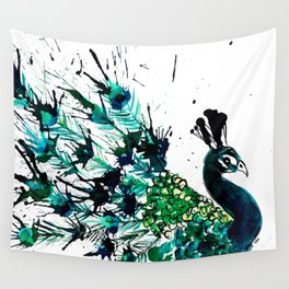Peacock profile ink splatter Wall Tapestry