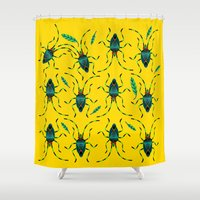 bugs Shower Curtains featuring Shield Bugs by yellowstudiofreo
