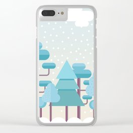 Snowy Winter Forest Clear iPhone Case