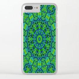 Green-black-blue kaleidoscope Clear iPhone Case
