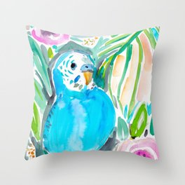 Chipper the Budgie Throw Pillow