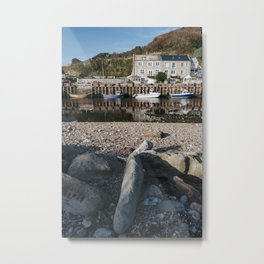 Boats moored in the harbour at Seaton. Devon, UK. Metal Print