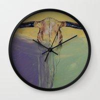 bull Wall Clocks featuring Bull by Michael Creese