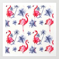 Beach Flamingos Art Print