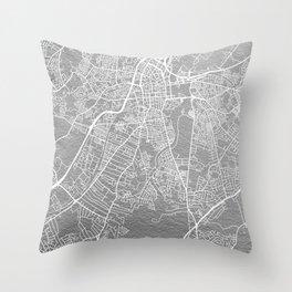 Silver Belfast map Throw Pillow