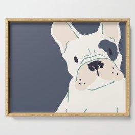 Cute French Bulldog (White w/ Spot) Serving Tray