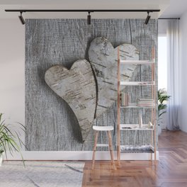 two wooden hearts love symbol Wall Mural