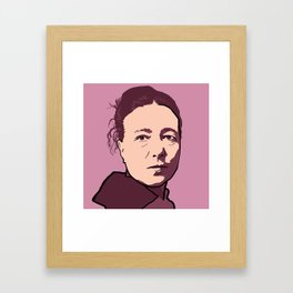 Simone de Beauvoir Red Pink Mauve Framed Art Print