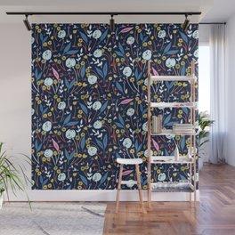 Ditsy Folk Dark Floral Pattern Wall Mural