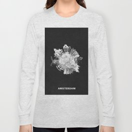 Amsterdam, The Netherlands Black and White Skyround / Skyline Watercolor Painting (Inverted Version) Long Sleeve T-shirt