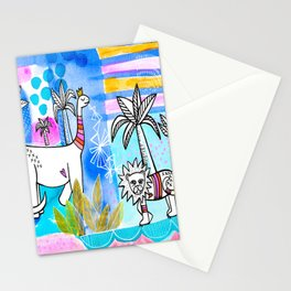 Unlikely Friends Painting - Lion Dinosaur Palm Trees Stationery Cards