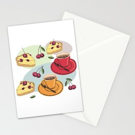Cherry Pie And A Hot Cup Of Coffee Stationery Cards