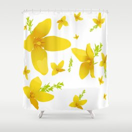 Forsythia flowers Shower Curtain