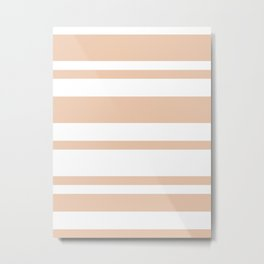 Mixed Horizontal Stripes - White and Desert Sand Orange Metal Print