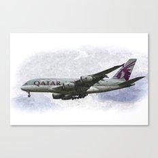 Qatar Airlines Airbus A380 Art Canvas Print