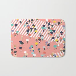 Crossing The Street On a Rainy Day Bath Mat