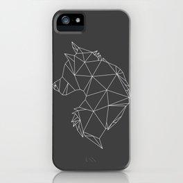 Geometric Wolf (White on Grey) iPhone Case