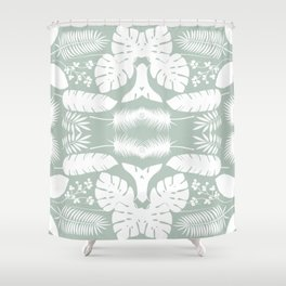 Gray and White Seamless Pattern Shower Curtain