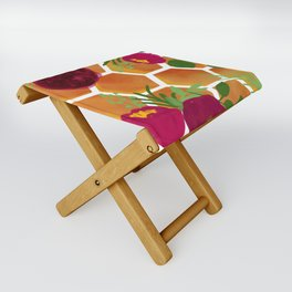 Honeycomb and Flowers Folding Stool