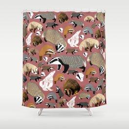 Eurasian badgers pattern Pink Shower Curtain