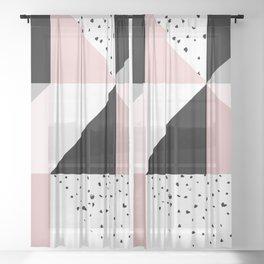 Geometrical pink black gray watercolor polka dots color block Sheer Curtain