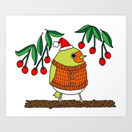 Festive Robin Art Print