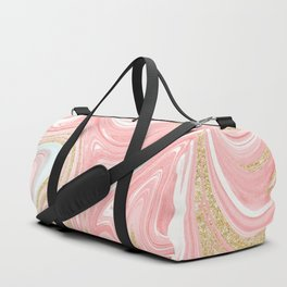 Modern pink coral marble gold glitter pattern Duffle Bag