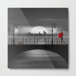 The bridge in the summer rain Metal Print