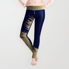 Navy blue abstract faux gold brushstrokes Leggings