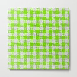 Lawn Green Buffalo Plaid Metal Print