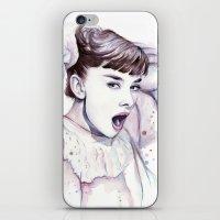 hepburn iPhone & iPod Skins featuring Audrey Hepburn Watercolor by Olechka