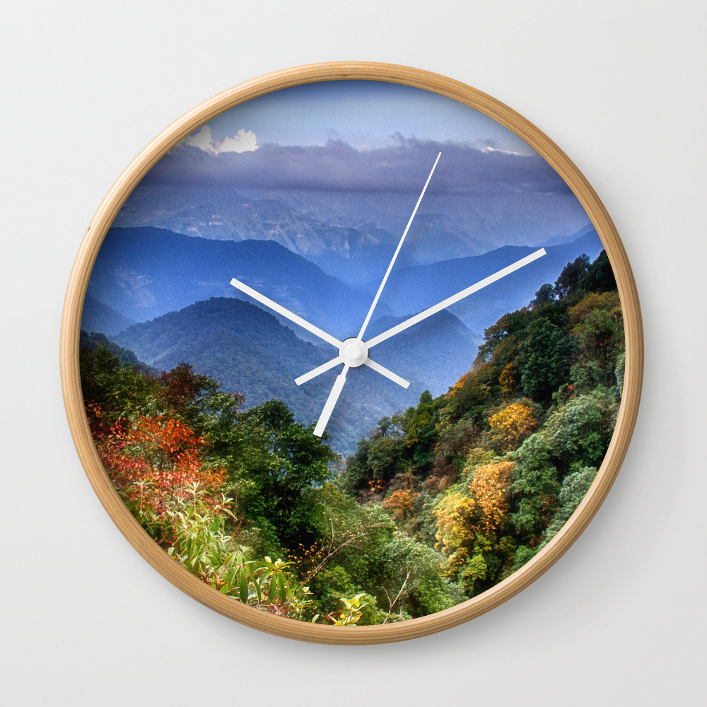 The Himalayas Of Bhutan Wall Clock by Kathyweaver CLK8419814