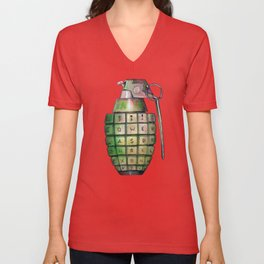 Your Keyboard is your weapon Grenade Unisex V-Neck