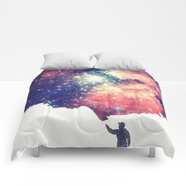 Painting the universe (Colorful Negative Space Art) Comforters