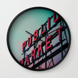 Seattle Pike Place Public Market Sign at Dawn Wall Clock