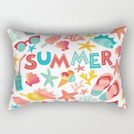 Summer seamless pattern with ice-cream, suglases, cocktail,  starfish, coral, flip flop sandals. Vac Rectangular Pillow